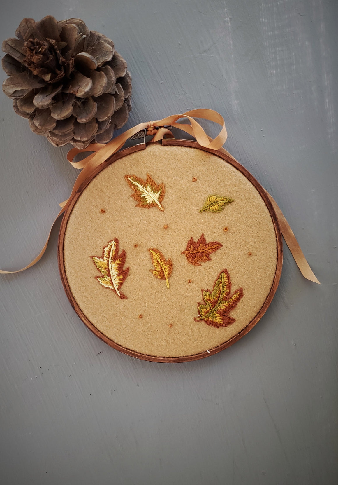 Falling Hand Embroidered Hoop Art