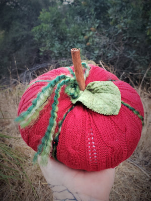 Holiday Pumpkin Pillow Red and Green With Vintage Velvet Leaf and Cinnamon Stick Stem