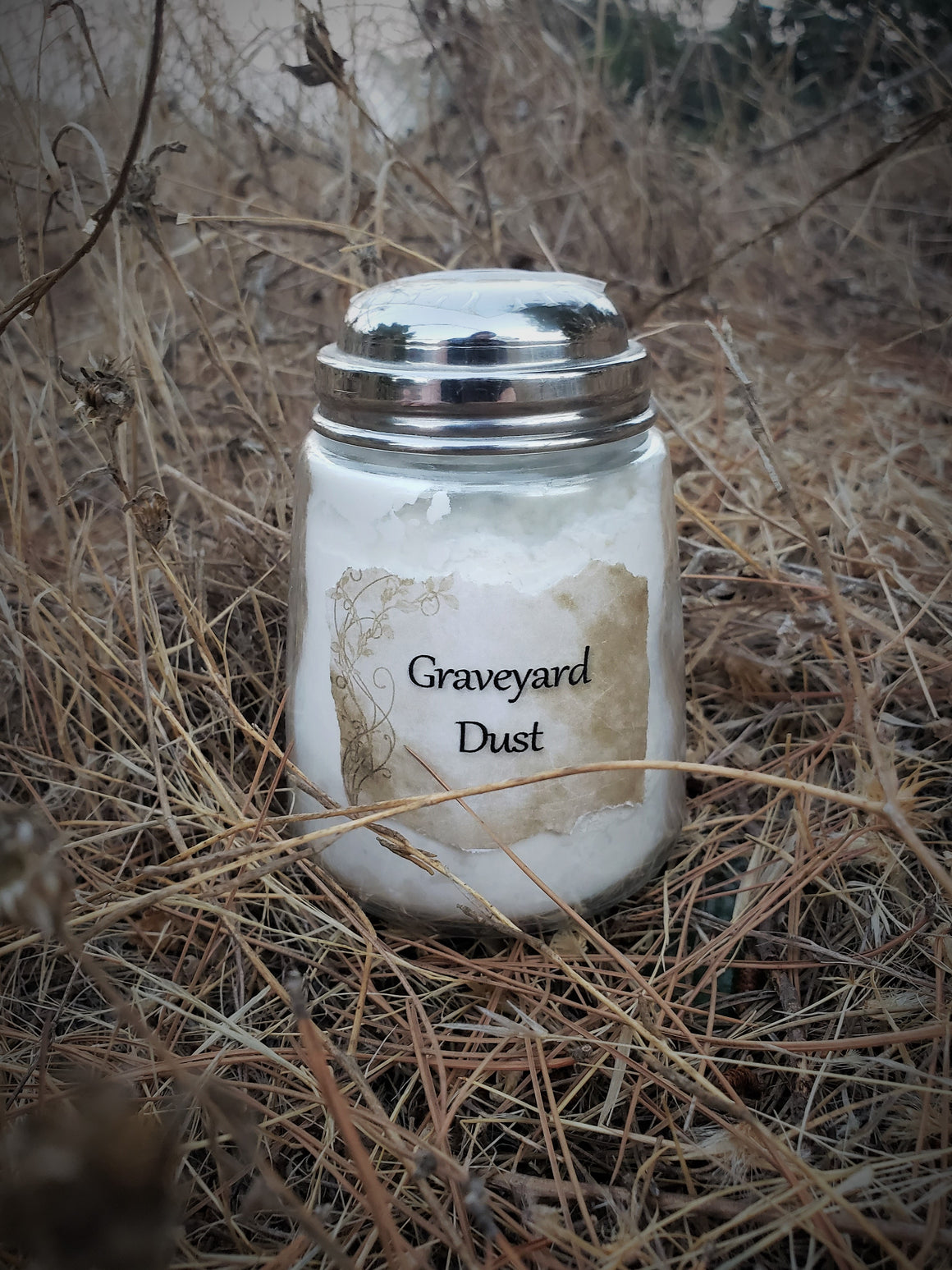 """Graveyard Dust"" Scented Talc Free Body Powder in a Vintage Shaker Jar"