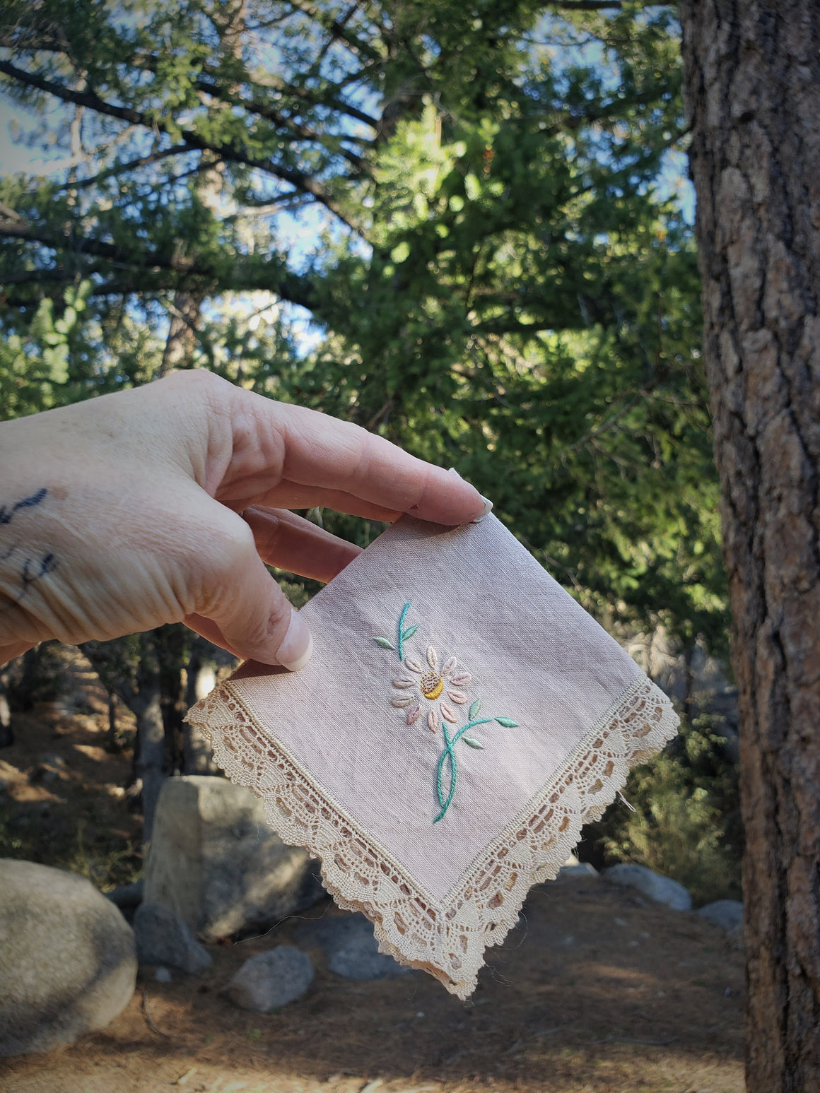 Hand Plant Dyed Vintage Handkerchief with Embroidered Wildflower