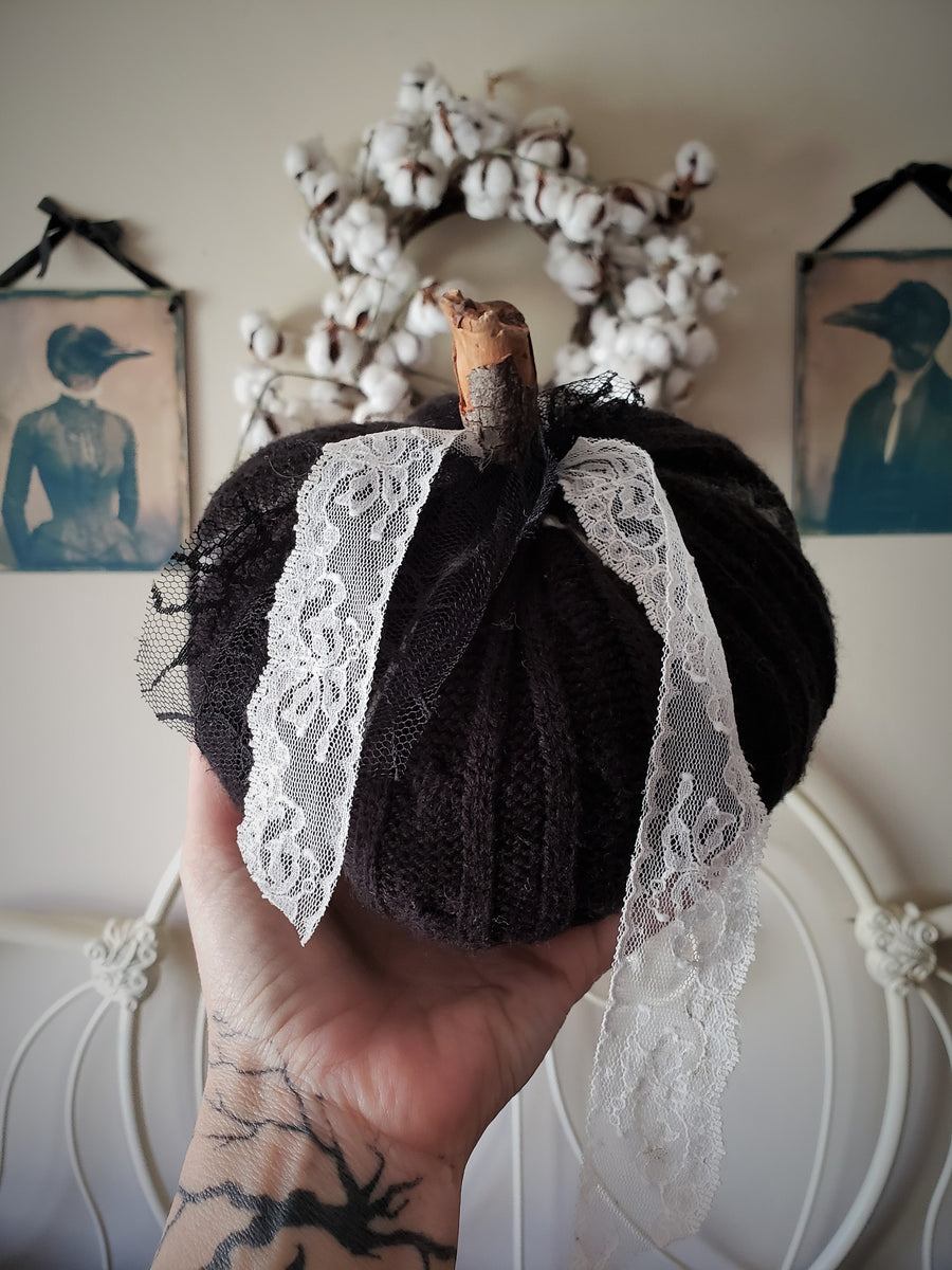 Black Knit Pumpkin Pillow Pouf, With Black and Ivory Lace and Wooden Stem