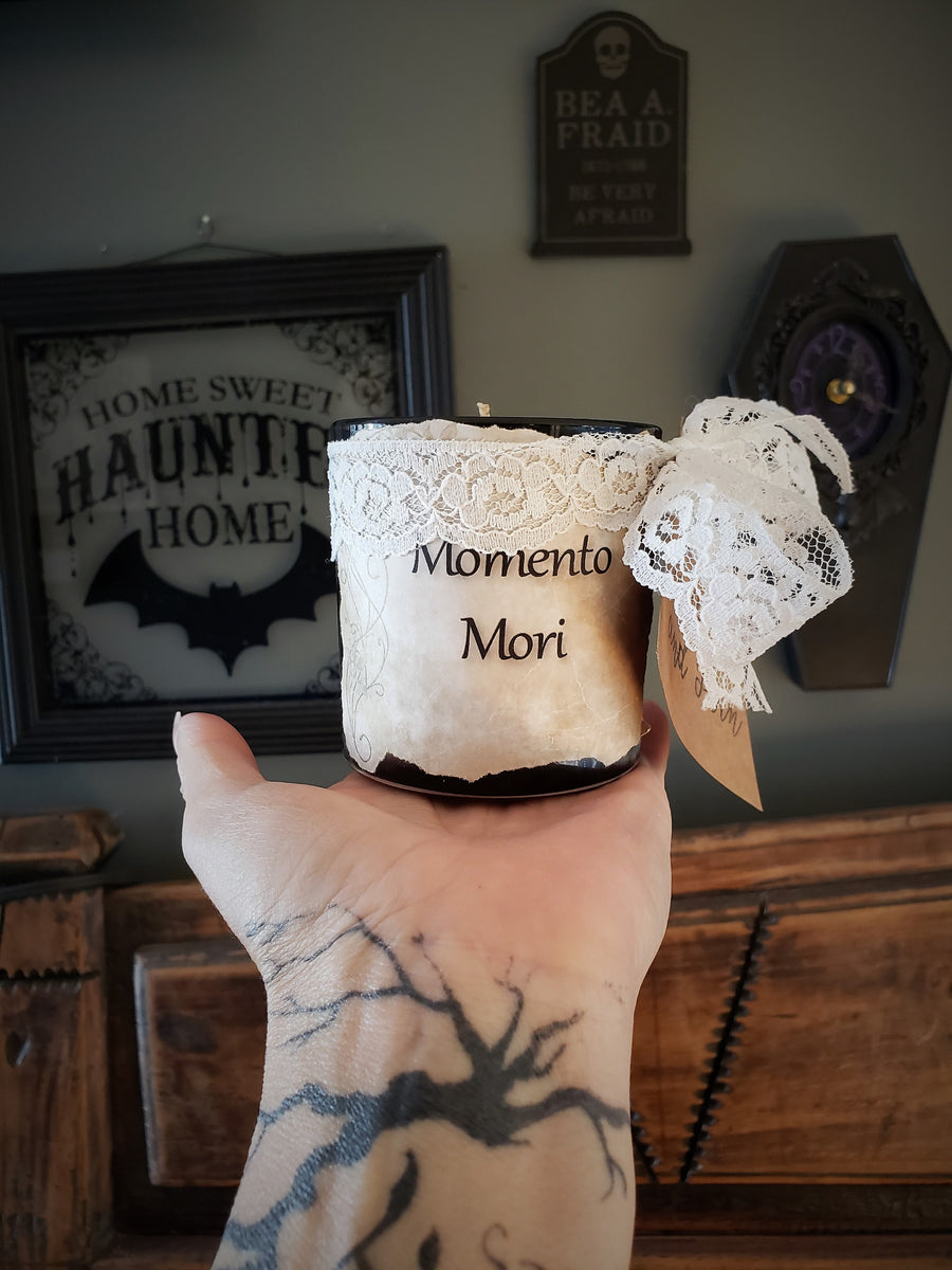 """Momento Mori"" Soy Candle With Hand Torn Label, Rose and Sandalwood"
