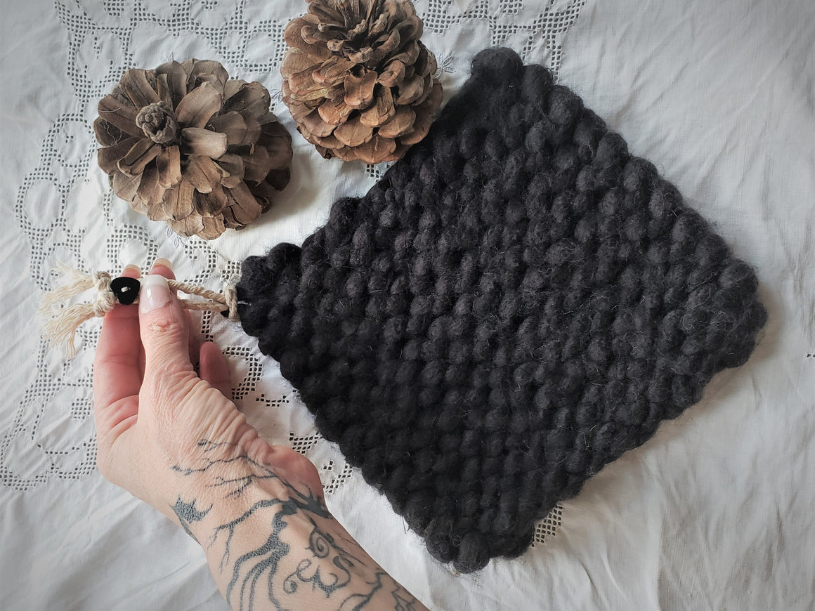 Handknit Potholder or Trivet in Black, Extra Chunky