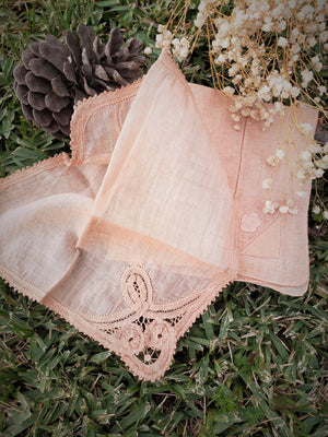 Set of Two Hand Plant Dyed Vintage Handkerchiefs in Salmon Pink