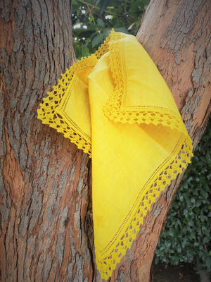 Hand Plant Dyed Yellow Linen Vintage Handkerchief with Crochet Lace Trim