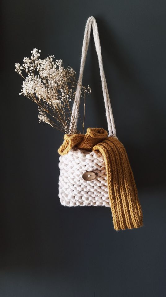 The Cottonwood Handknit Shoulder Bag in Ivory