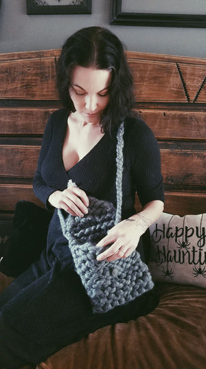 The Storm Handknit Gray Crossbody Bag