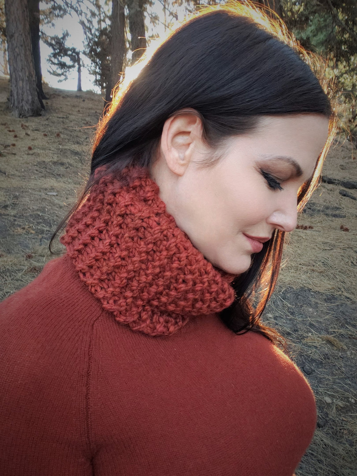 "The ""Mahogany"" Brick Red Hand Knitted Infinity Scarf or Cowl"