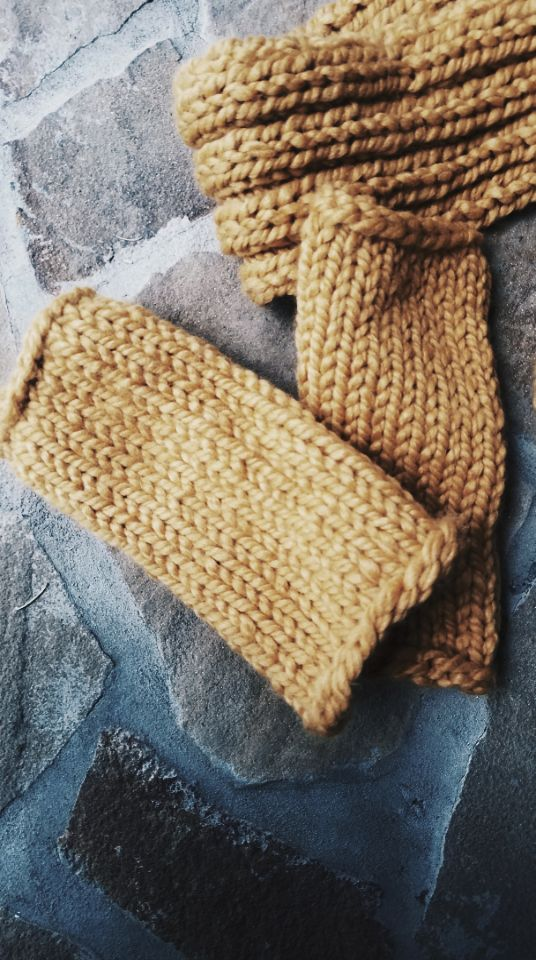 The Honey Mustard Handknit Wrist Warmers