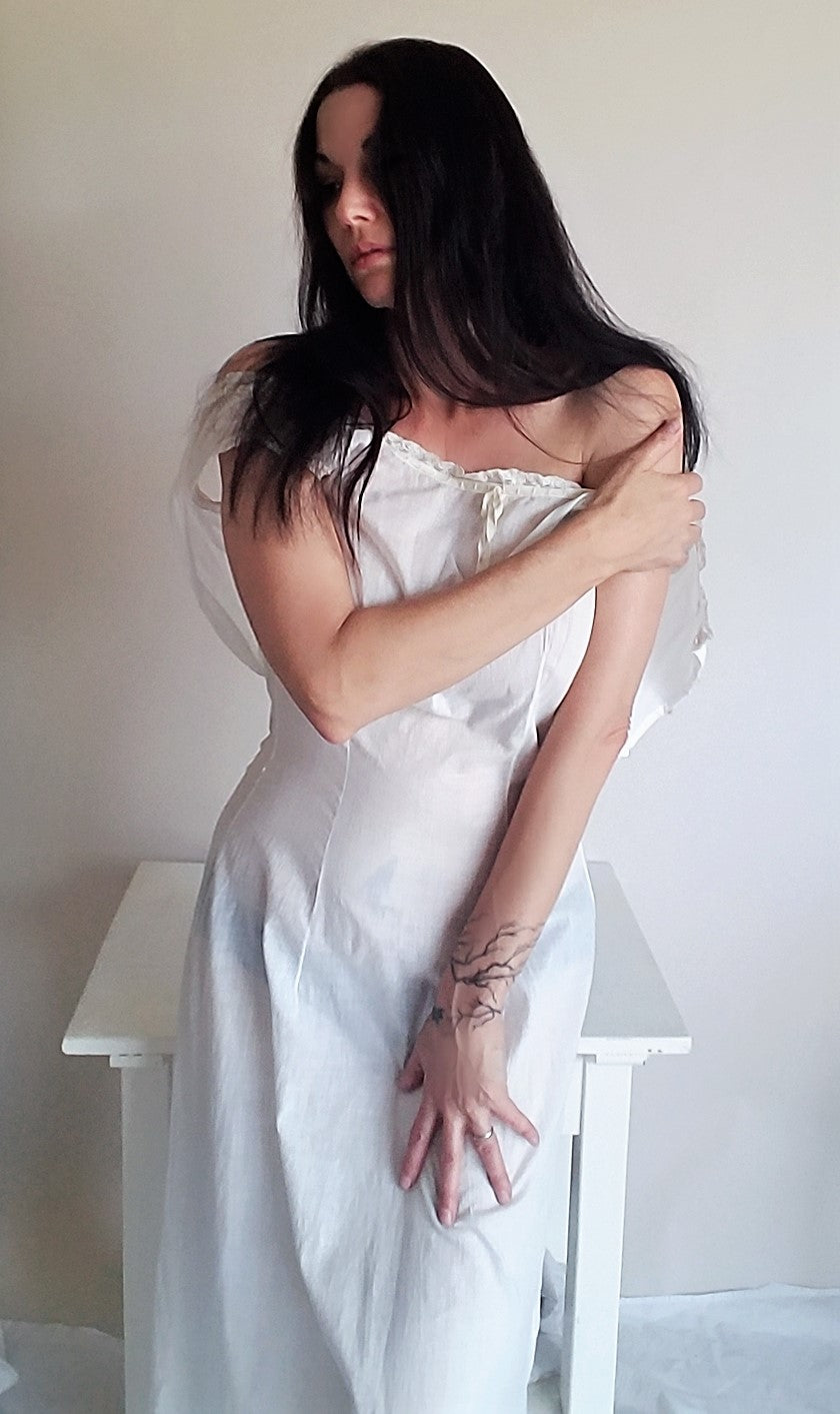 Antique Edwardian White Cotton Chemise Nightgown