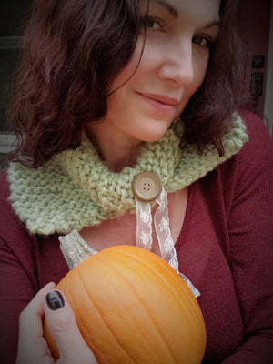 "Handknit ""Sage Magic"" Green Infinity Scarf Cowl"