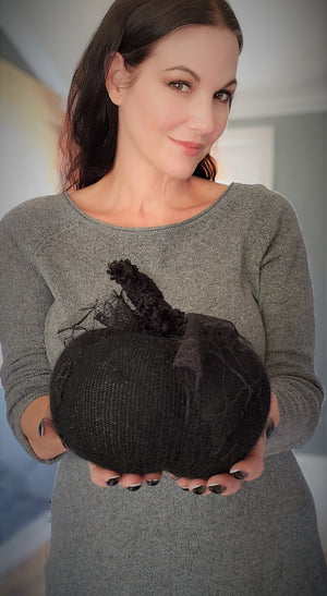 The Black As Night Pumpkin Pillow Pouf