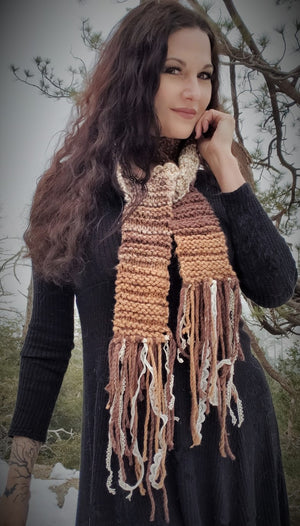 "The ""Autumn Tree"" Scarf with Vintage Lace Fringe"