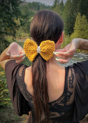"Handknit ""Marigold"" Yellow Hair Bow with Vintage Lace"
