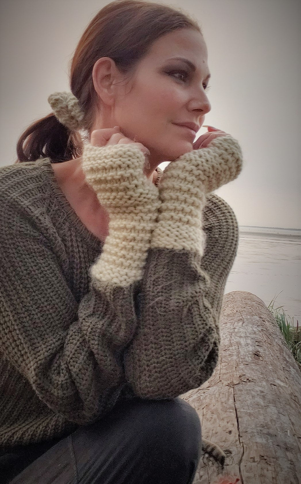 "The ""Fawn"" Handknit Cream Fingerless Gloves"