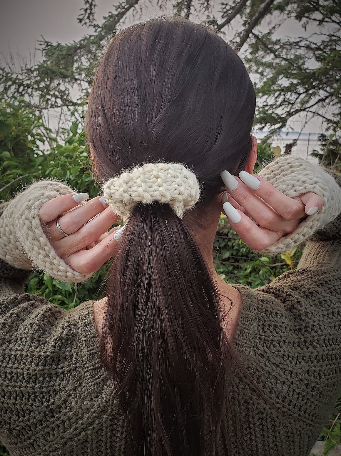 "The ""Fawn"" Hand Knit Cream Hair Scrunchie"