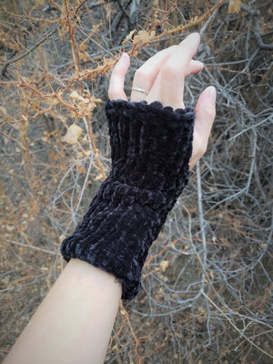 "The ""Black Velvet"" Handknit Fingerless Gloves"