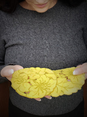 Set of Two Hand Plant Dyed Vintage Doilies in Sunny Yellow
