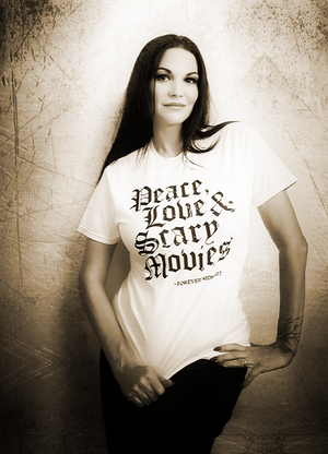 Peace, Love and Scary Movies T shirt