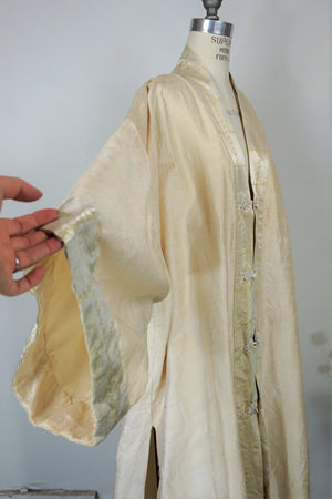 Vintage 1960s Chinese Coat / Silk Oriental Duster in Gold And Ivory