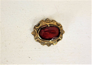 Vintage 1930s 1940s Red Glass Brooch