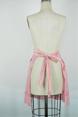 Vintage 1960s Pink And White Gingham Apron With Pocket