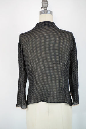 Black and ivory polkadot top, 40s style