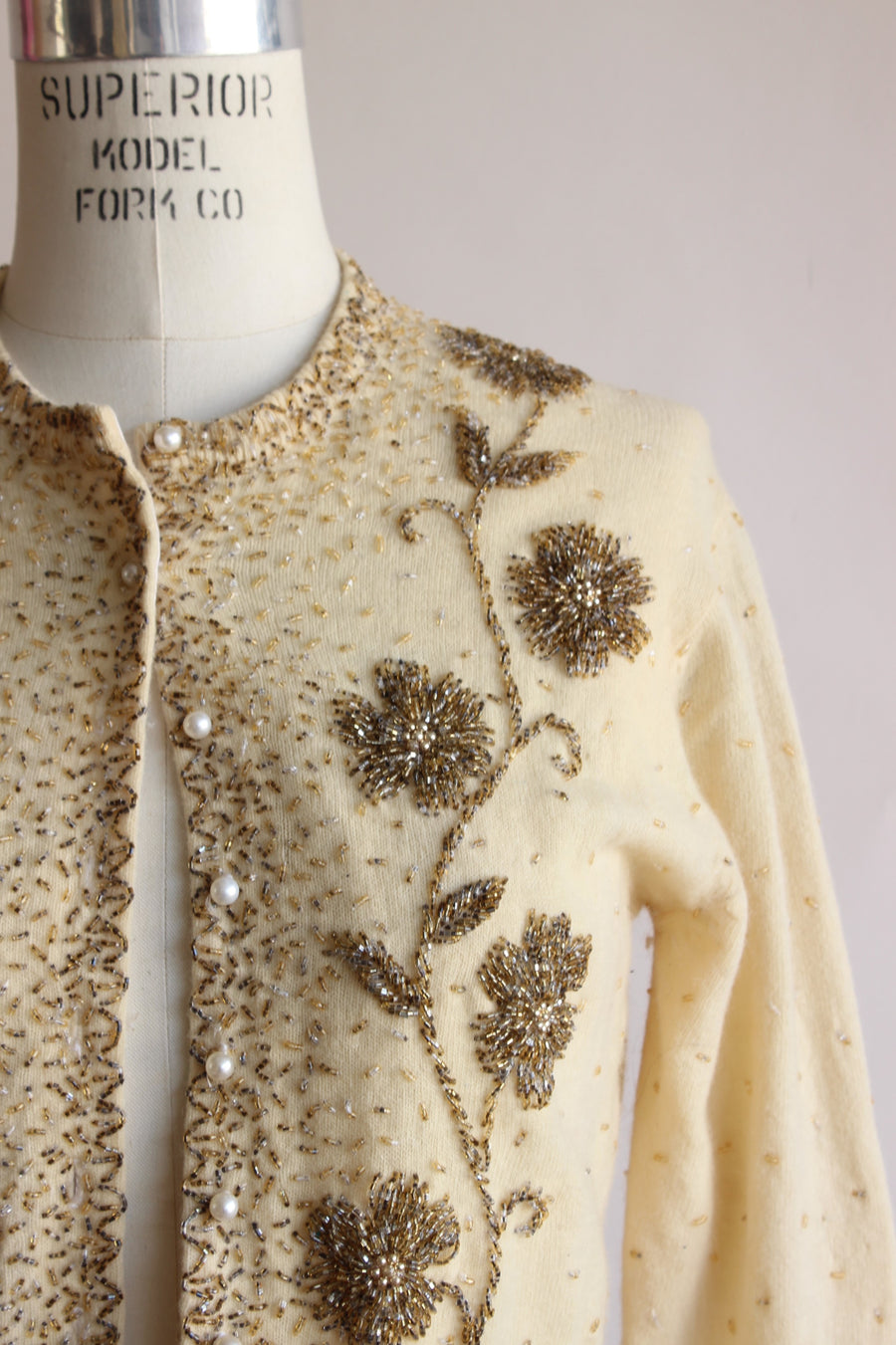 Vintage 1950s Beaded Ivory Cardigan Sweater