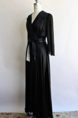 Vintage 1940s Black Silk Satin Dressing Gown