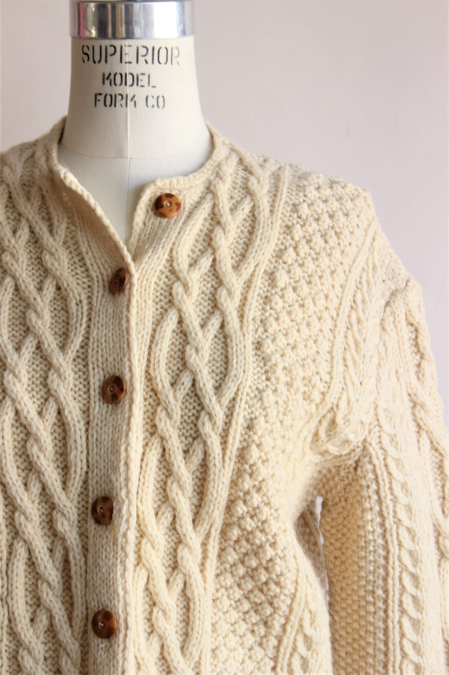 Vintage 1950s Ivory Cableknit Cardigan Sweater