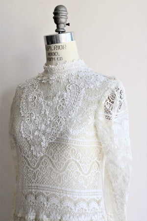 Vintage 1970s to 1980s White Lace Edwardian Style Dress