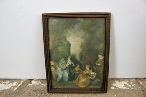 Vintage Mid Century Framed Mirror And Art Print