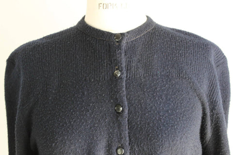 Vintage 1940s Black Ribbed Cardigan Sweater