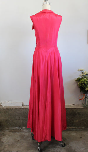 Vintage 1940s New Look Pink Taffeta Gown