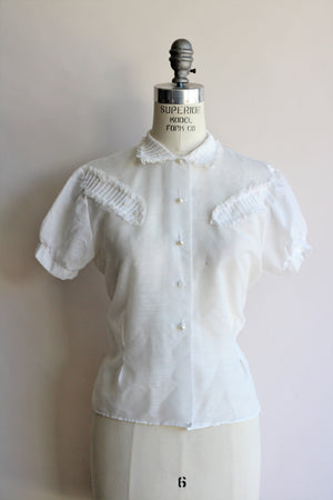 Vintage 1950s White Ruffled Blouse