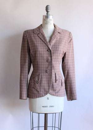 VIntage 1950s Gray and Pink Jacket With Pink Lining By Friedmont