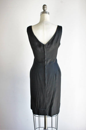 Vintage 1950s Black Faille Molly Modes Little Black Dress