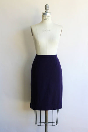 Vintage 1960s Navy Blue Wool Skirt, Campus Casuals