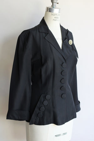 Vintage 1950s New Look Black Rayon Jacket With Rhinestone Pin