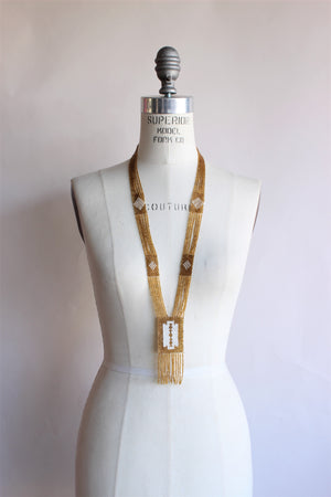 Vintage 1920s Gold Seed Bead Necklace