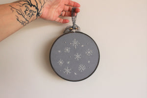 Winter Wonder Hand Embroidered Snowflakes Hoop