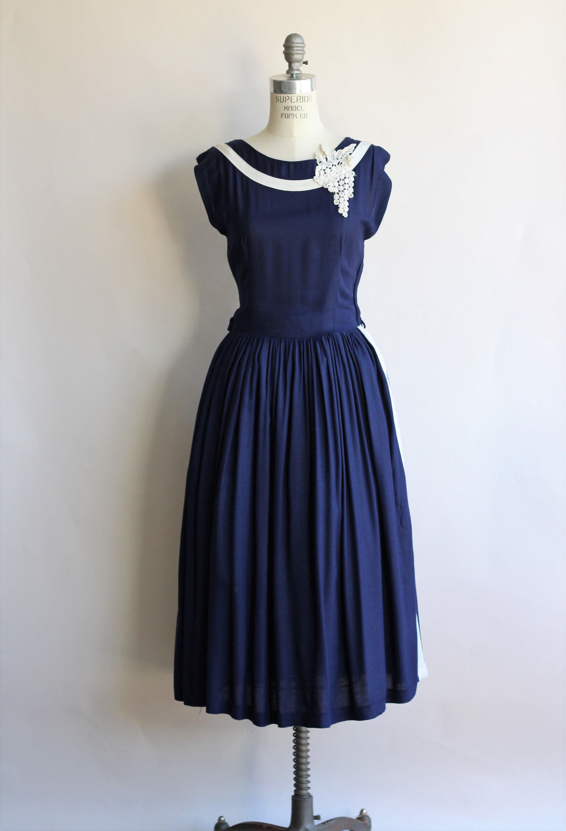 1950s Navy Blue Dress with White Appliques and Stripe