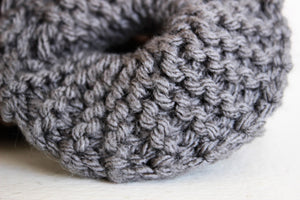 Handknit Gray Hair Scrunchie in Stormcloud
