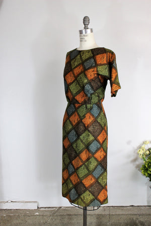 Vintage 1950s Wiggle Dress Harlequin Print By Bullock's Wilshire Casual Shops