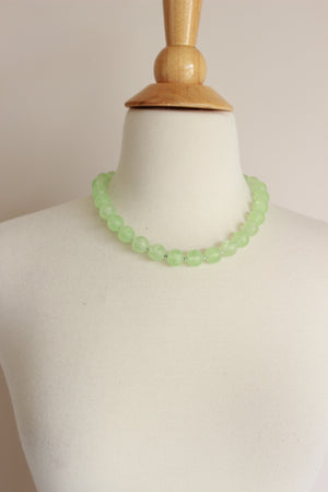 Vintage 1950s Green Round Bead Necklace