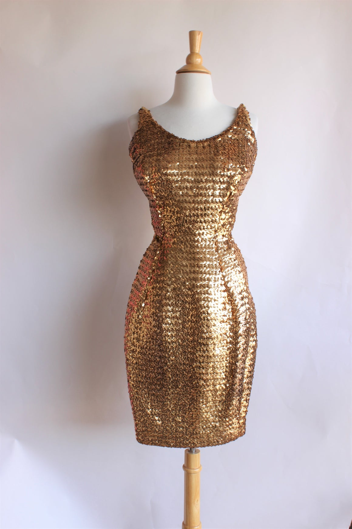 Vintage 1950s Gold Sequin Wiggle Dress