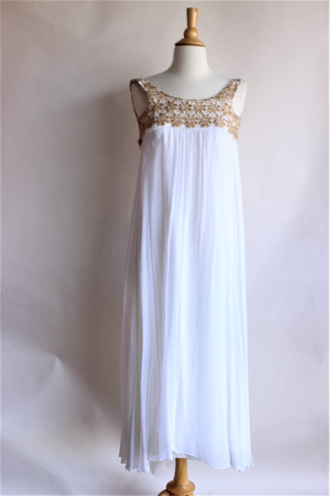 Vintage 1960s White and Gold Chiffon Maxi Dress
