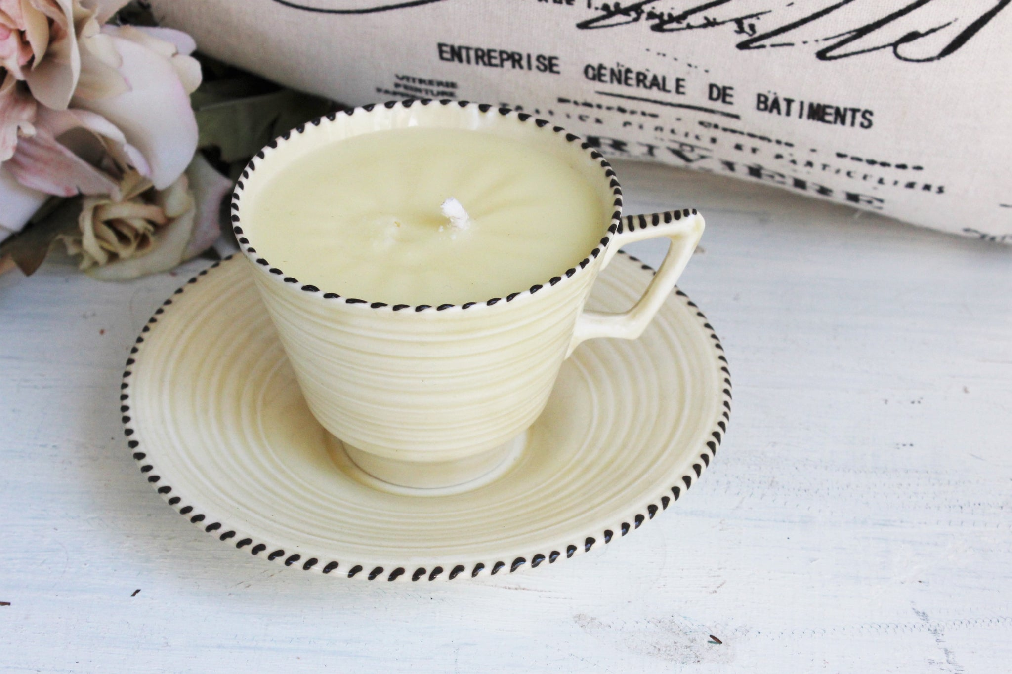 Vintage Tea Cup Candle soy wax hand poured