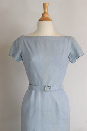Vintage 1950s Wiggle Dress With Pockets And Belt in Pale Blue Linen