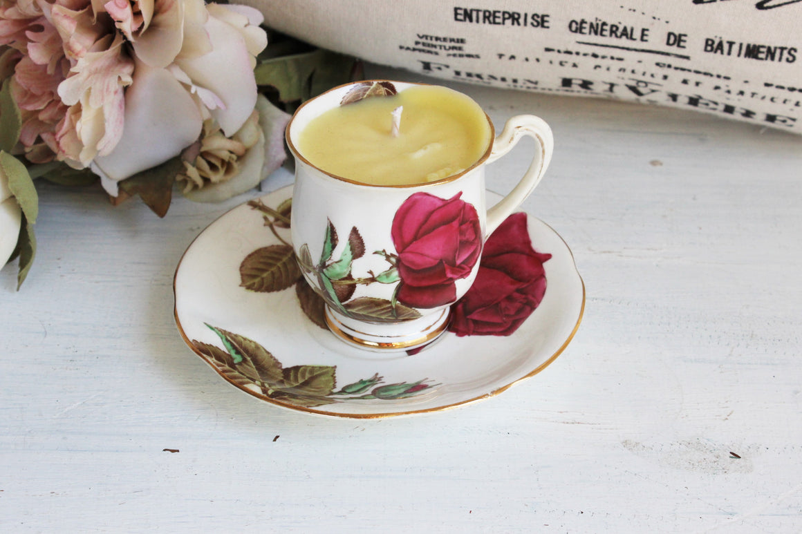 Handpoured Soy Wax Candle in A Royal Standard English Rose Tea Cup and Saucer